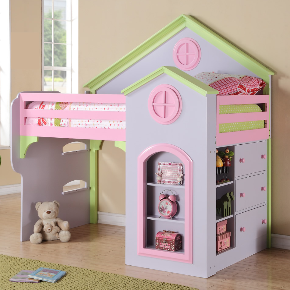 Adorable Full Kids Bedroom Set For Girl Playful Room Huz: Princess Loft Bed By Michael Ashton Design
