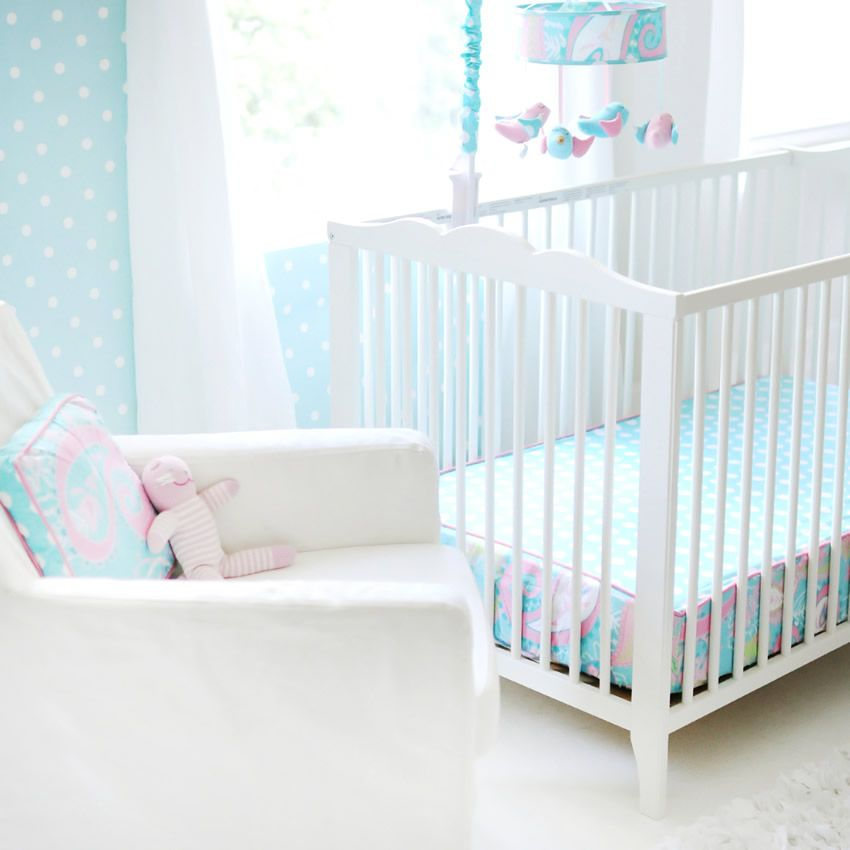 Pixie Baby in Aqua 3pc Crib Bedding Set by My Baby Sam Thumbnail 1