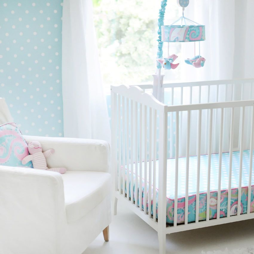 Pixie Baby in Aqua 3pc Crib Bedding Set by My Baby Sam Thumbnail 2