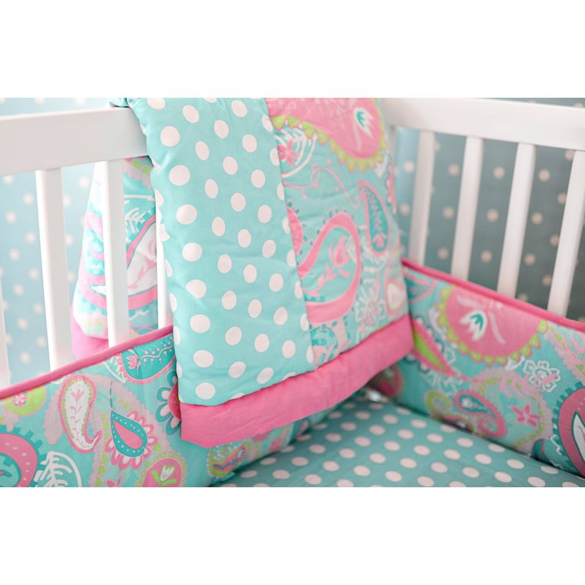 Pixie Baby in Aqua 3pc Crib Bedding Set by My Baby Sam Thumbnail 7