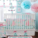Pixie Baby in Aqua 3pc Crib Bedding Set by My Baby Sam