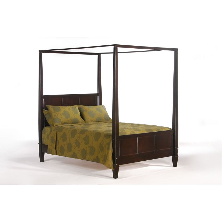 Laurel canopy bed shown in chocolate finish short p series Short canopy bed