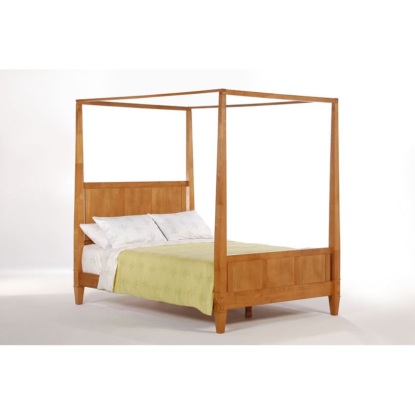 Laurel canopy bed shown in medium oak finish short p series Short canopy bed