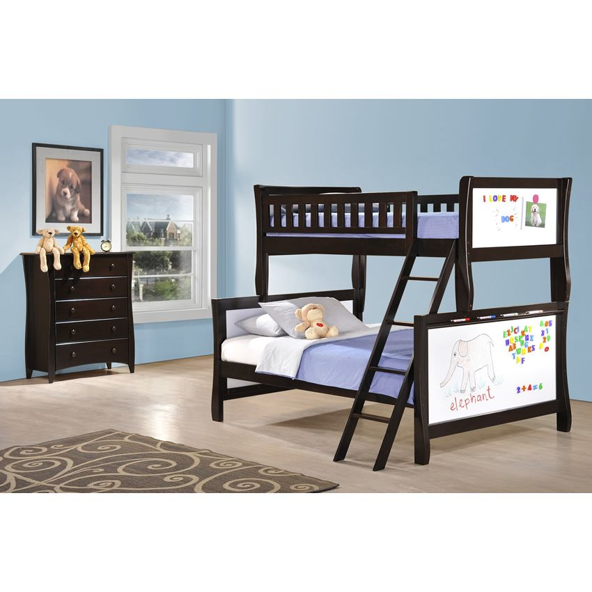 Twin over Full Scribbles Bunk Bed shown in chocolate finish Thumbnail 3