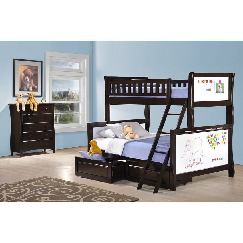 Twin over Full Scribbles Bunk Bed shown in chocolate finish Thumbnail 2