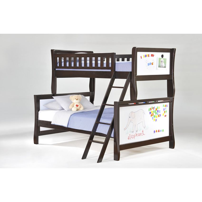 Twin over Full Scribbles Bunk Bed shown in chocolate finish Thumbnail 1