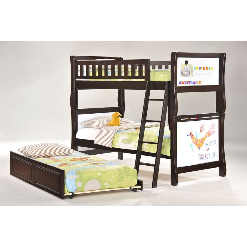 Twin Scribbles Bunk Bed shown in chocolate finish Thumbnail 2