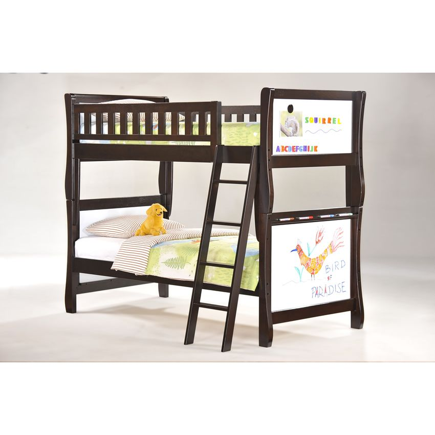 Twin Scribbles Bunk Bed shown in chocolate finish Thumbnail 1