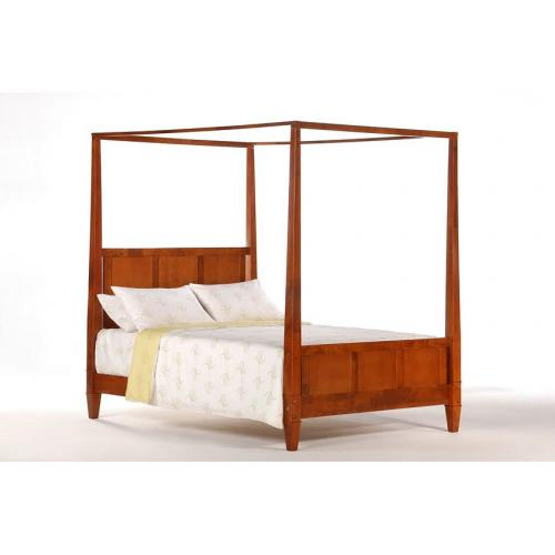 Laurel canopy bed shown in cherry finish short p series Short canopy bed