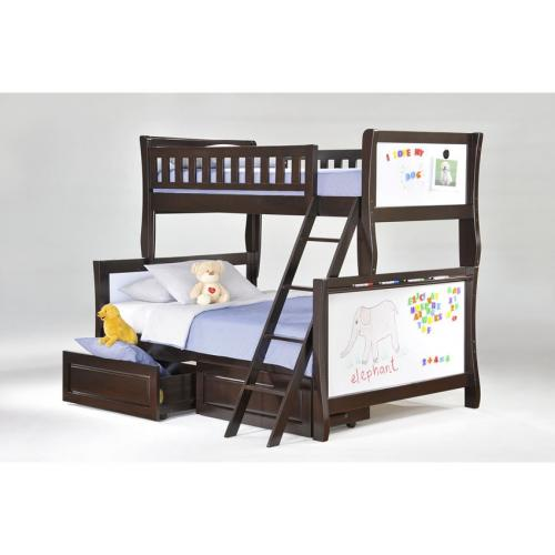Twin over Full Scribbles Bunk Bed shown in chocolate finish Thumbnail