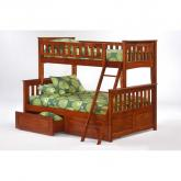Twin over Full Ginger Bunk Bed shown in cherry finish