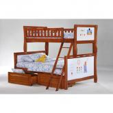 Twin over Full Scribbles Bunk Bed shown in cherry finish