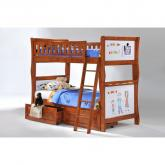 Twin Scribbles Bunk Bed shown in cherry finish