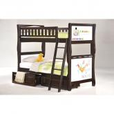 Twin Scribbles Bunk Bed shown in chocolate finish