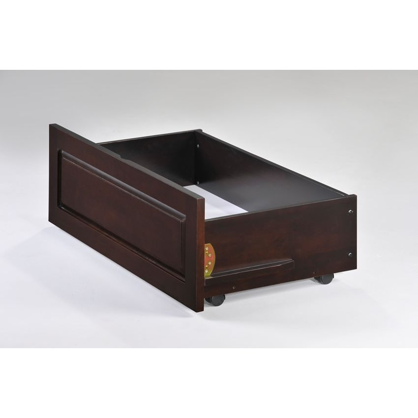 Twin Ginger Loft Bed No Desk Shown In Chocolate Finish Thumbnail 1