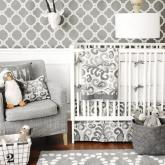 Urban Ikat in Gray Crib Bedding Set by New Arrivals