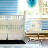 White Pique in Blue Crib Bedding Set by New Arrivals