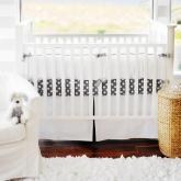 White Pique in Gray Crib Bedding Set by New Arrivals