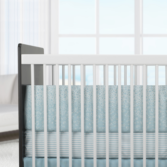 Raindrops 3-Piece Crib Set in Aqua by Oilo Thumbnail 2