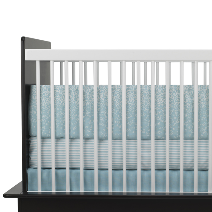 Raindrops 3-Piece Crib Set in Aqua by Oilo Thumbnail 1