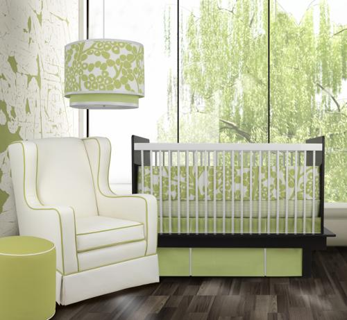 Modern Berries 3-Piece Crib Set in Spring Green by Oilo Thumbnail