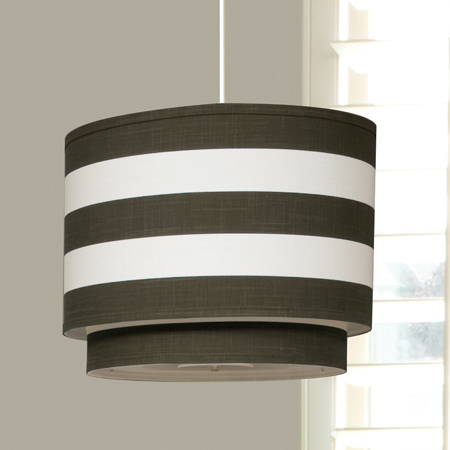 Modern Berries Brown Striped Double Pendant Light by Oilo