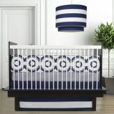 Wheels 3-Piece Crib Set in Cobalt Blue by Oilo