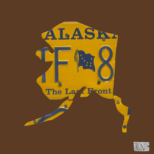 Alaska License Plate Map in Chocolate by Oopsy daisy