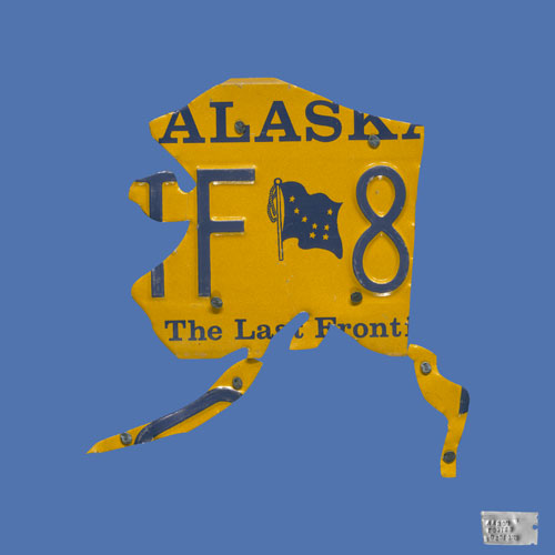 Alaska License Plate Map in Blue by Oopsy daisy