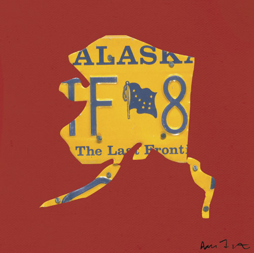 Alaska License Plate Map in Red by Oopsy daisy
