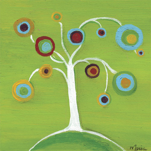 Bubble Tree on Green by Oopsy daisy