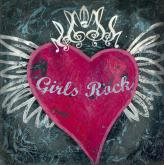 I Love Rock & Roll, Girls Rock Square by Oopsy daisy