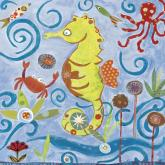 Lime Green Sea Horse by Oopsy daisy