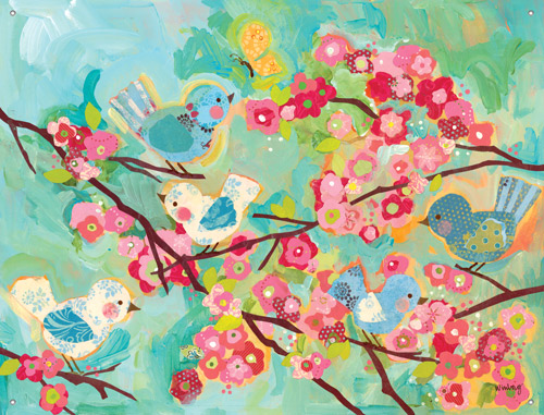 Cherry Blossom Birdies Wall Mural By Oopsy Daisy