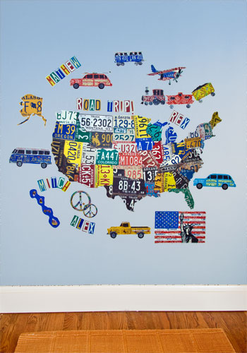 License Plate Usa Map Peel Place Wall Art By Oopsy Daisy