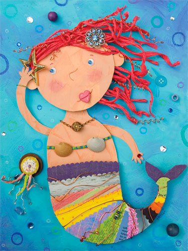 Mermaid performance girls 39 mural by oopsy daisy for Mermaid arts and crafts