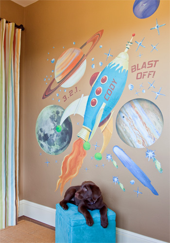 Retro Rocket Peel & Place Wall Art by Oopsy daisy