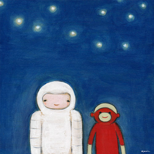 Spaceman and Sock Monkey by Oopsy daisy