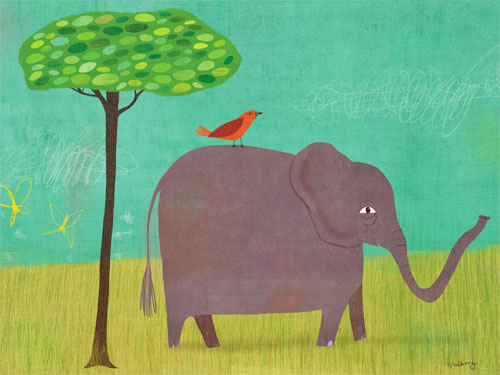 Elephant and Red Bird by Oopsy daisy