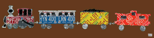 License Plate Train, Chocolate by Oopsy daisy