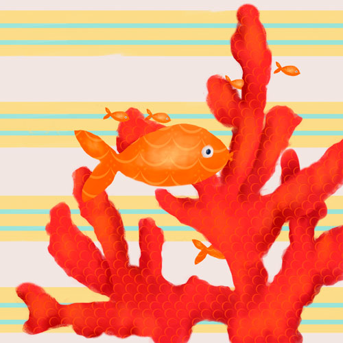 Red Coral and Little Fish by Oopsy daisy