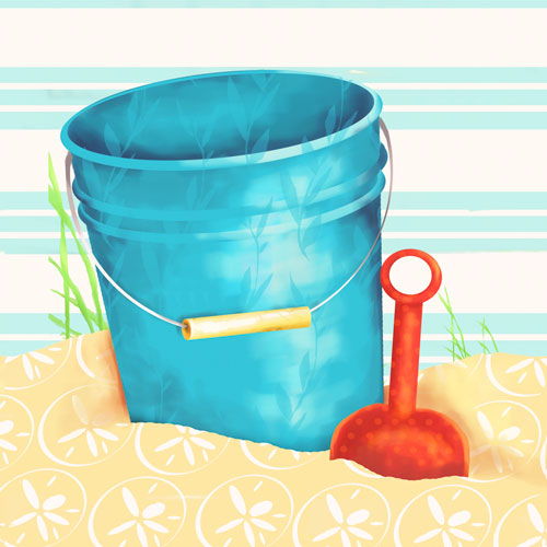 Shovel and Blue Pail by Oopsy daisy