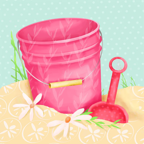 Shovel and Pink Pail by Oopsy daisy