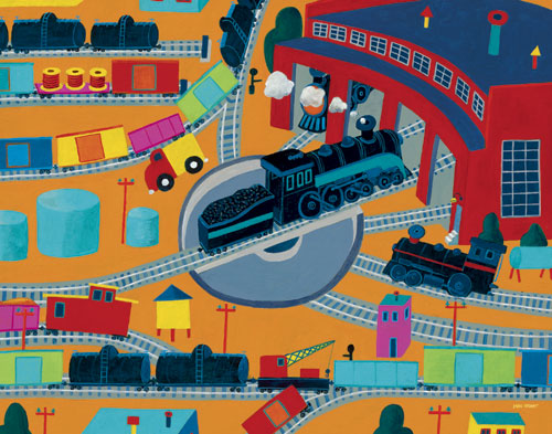 Train Roundhouse by Oopsy daisy