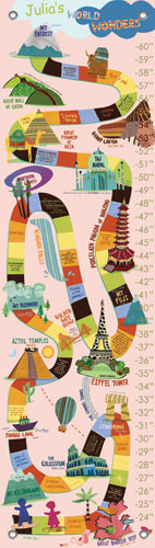 World Wonders, Pink Growth Chart by Oopsy daisy Thumbnail