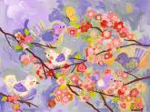 Cherry Blossom Birdies, Lavender & Coral by Oopsy daisy