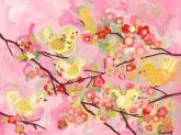 Cherry Blossom Birdies, Pink & Yellow by Oopsy daisy