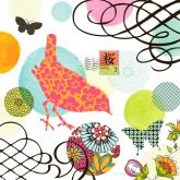 Coral Bird Postage Stamp by Oopsy daisy