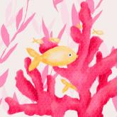 Pink Coral and Little Fish by Oopsy daisy
