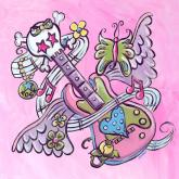 Tattoo, Guitar, Pink by Oopsy daisy